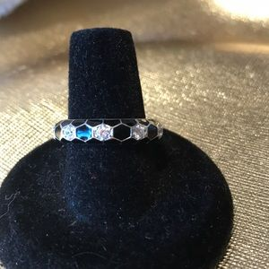 925 sterling silver stack ring with cz's